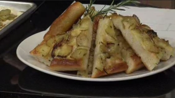 Flatbread with Yukon Gold Potatoes, Cheddar and Rosemary