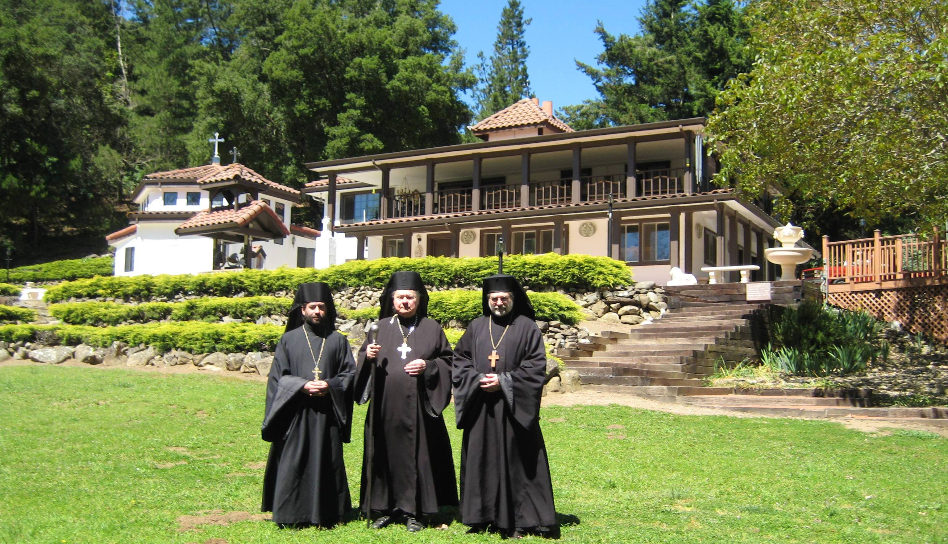 (left) Father Peter Didun, (center) Father Theodor Micka and Father Stephen Scott (right) at Holy Cross Monastery in Castro Valley.