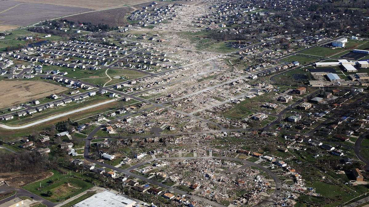Tornado-damaged homes are seen on November 18, 2013, in Washington, Ill. The tornado that ripped across Washington was classified as an EF-4.
