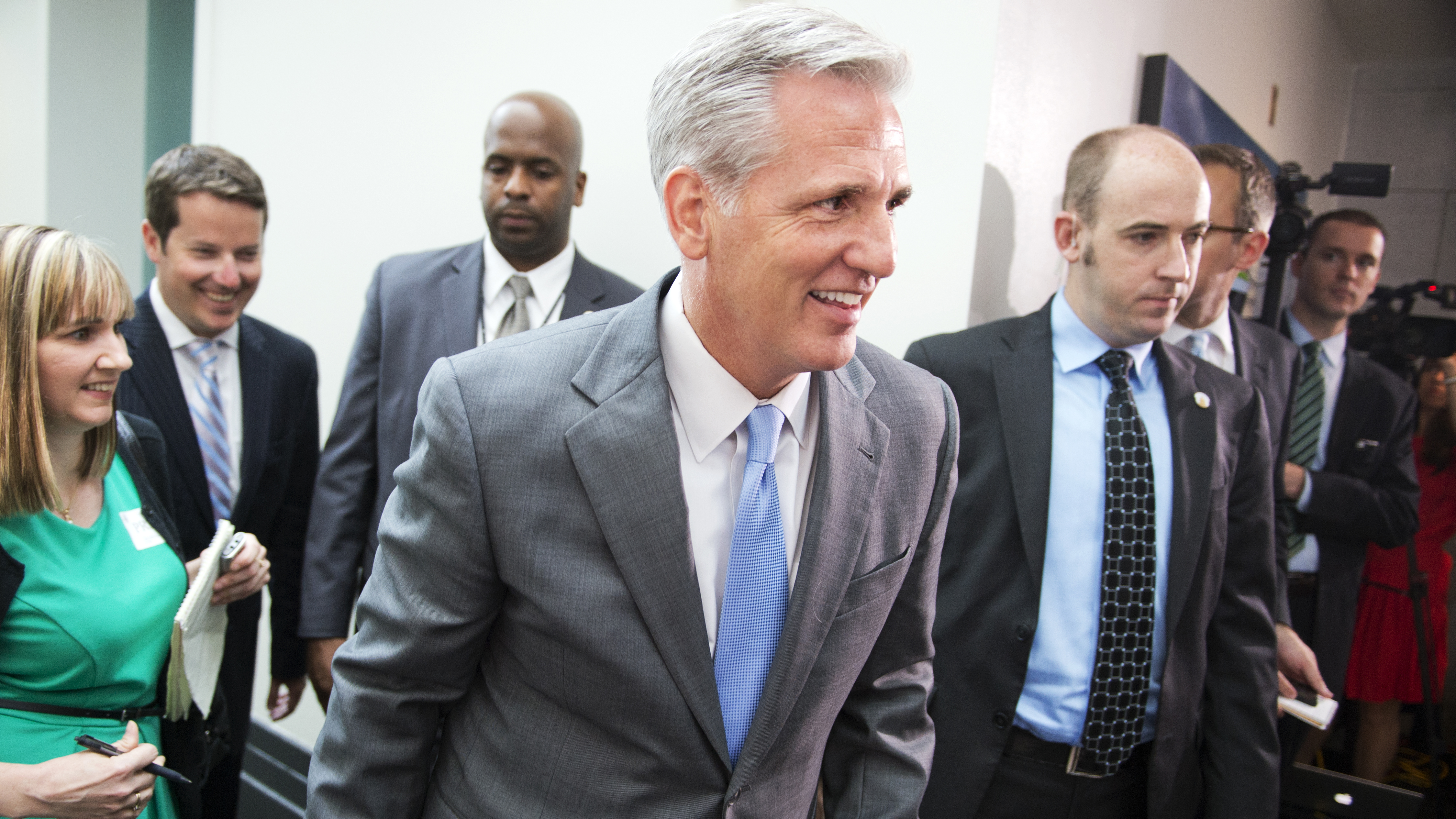 Kevin McCarthy, R-Calif., leaves a meeting of the House Republican Conference meeting in the Capitol, June 18, 2014. (Photo By Tom Williams/CQ Roll Call)
