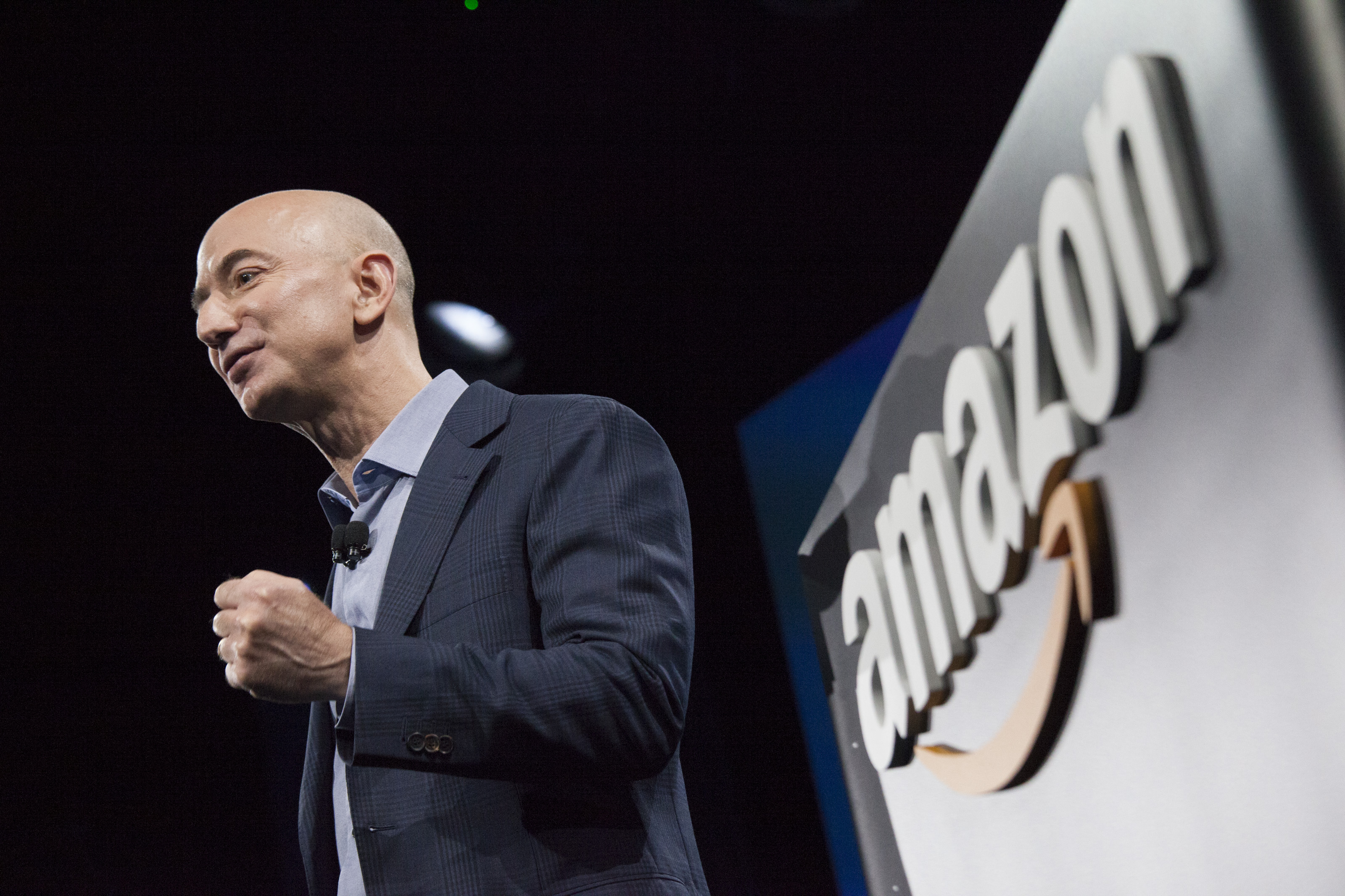 Amazon.com founder and CEO Jeff Bezos presents the company's first smartphone, the Fire Phone, on June 18, 2014 in Seattle, Washington. The much-anticipated device is available for pre-order today and is available exclusively with AT&T service