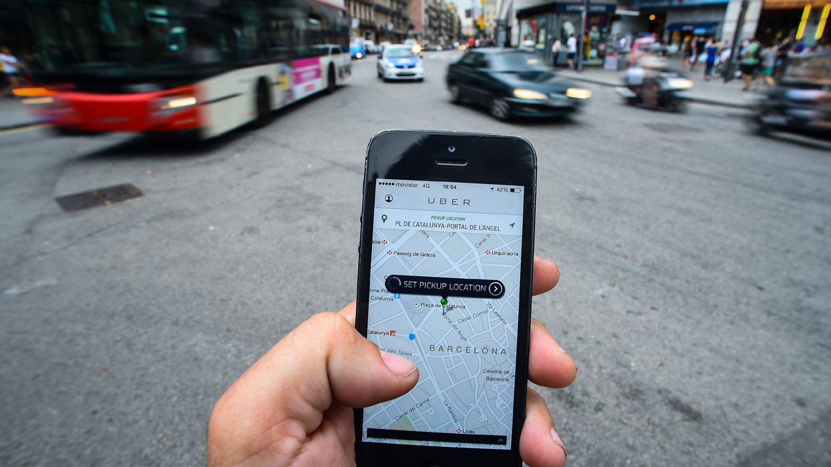 File photo of the Uber app. (Photo by David Ramos/Getty Images)
