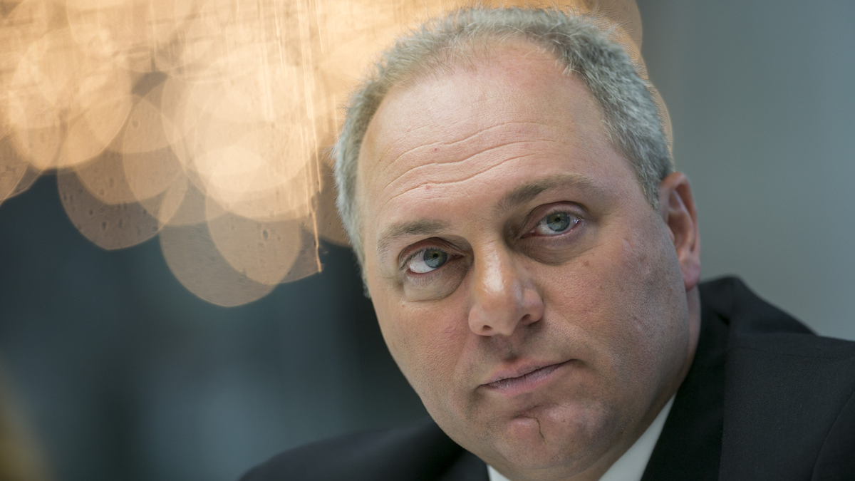 In this file photo, House Majority Whip Steve Scalise, a Republican from Louisiana, listens during an interview in New York, U.S., on Wednesday, Oct. 8, 2014.