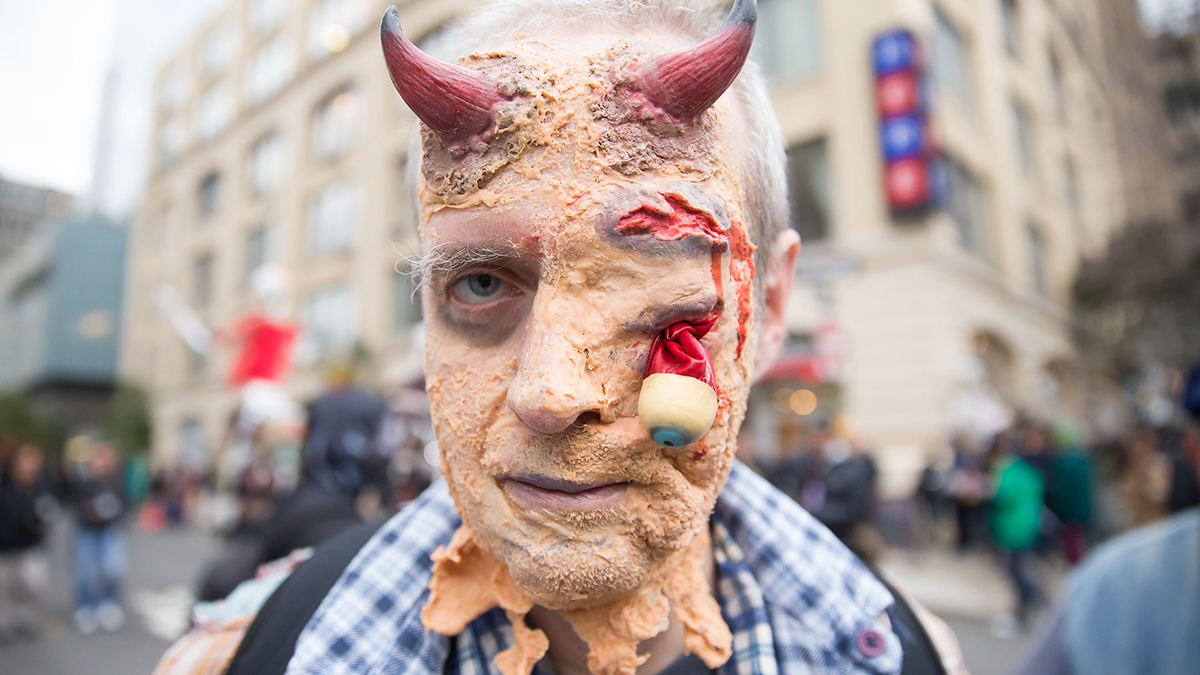 An attendee at the 2014 New York City Halloween Parade poses for a portrait on October 31, 2014 in New York City.