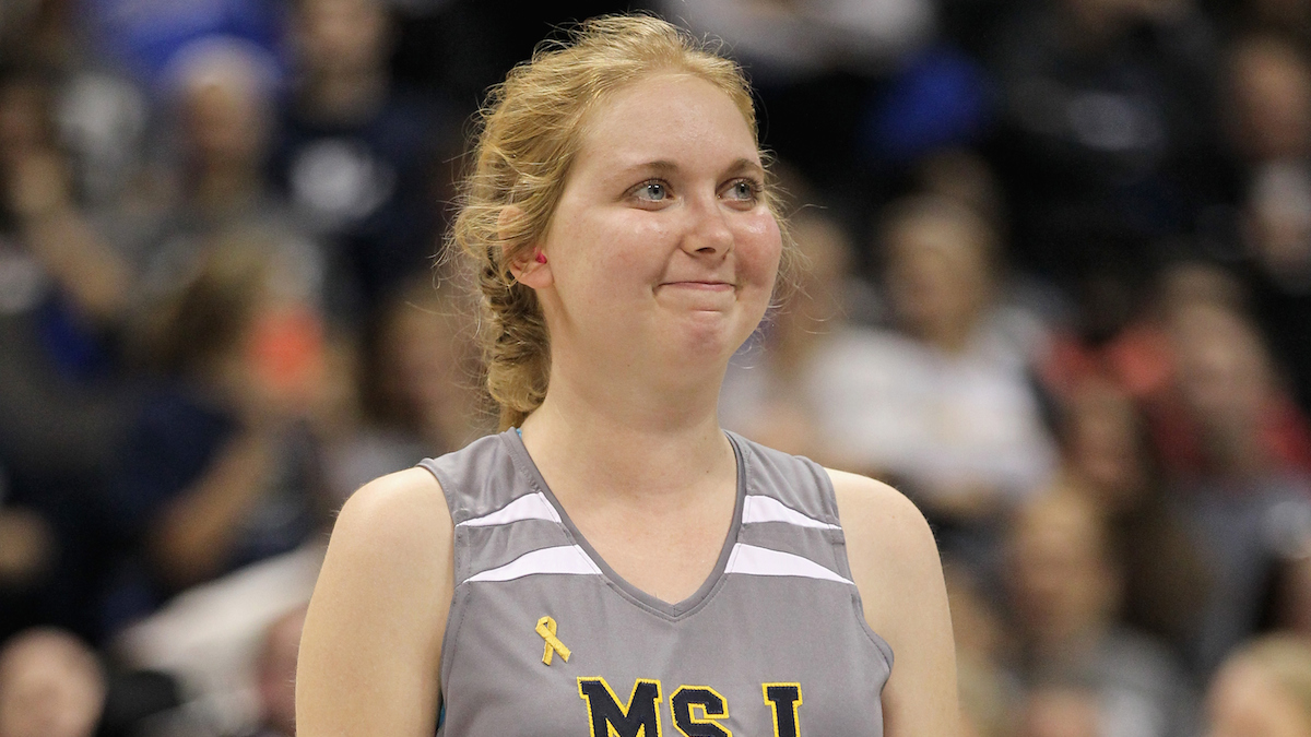 Lauren Hill of Mount St. Joseph during the game against Hiram at Cintas Center on November 2, 2014 in Cincinnati, Ohio.
