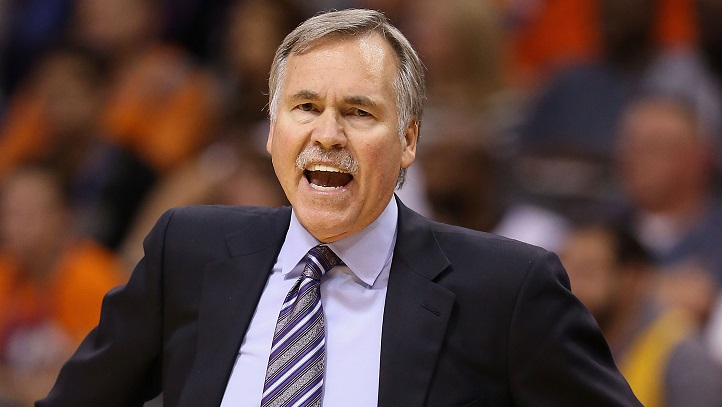 Head coach Mike D'Antoni of the Los Angeles Lakers reacts during the NBA game against the Phoenix Suns at US Airways Center on December 23, 2013 in Phoenix, Arizona.