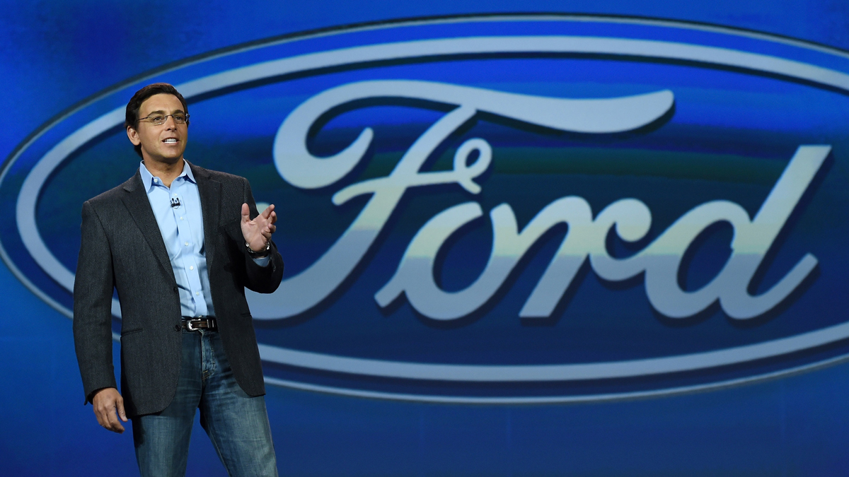 In this January 6, 2015, file photo, Ford Motor Co. President CEO Mark Fields delivers a keynote address at the 2015 International CES in Las Vegas. (Photo by Ethan Miller/Getty Images)