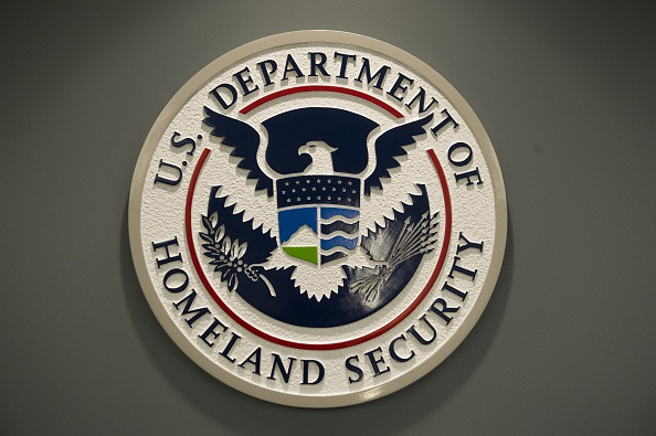 The logo of the Department of Homeland Security is seen at US Immigration and Customs Enforcement in Washington, DC, February 25, 2015.