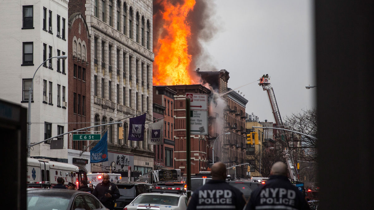 A building burns after an explosion on 2nd Avenue on March 26, 2015 in New York City. The seven alarm fire drew firefighters from across the city. A number of injuries have been reported.