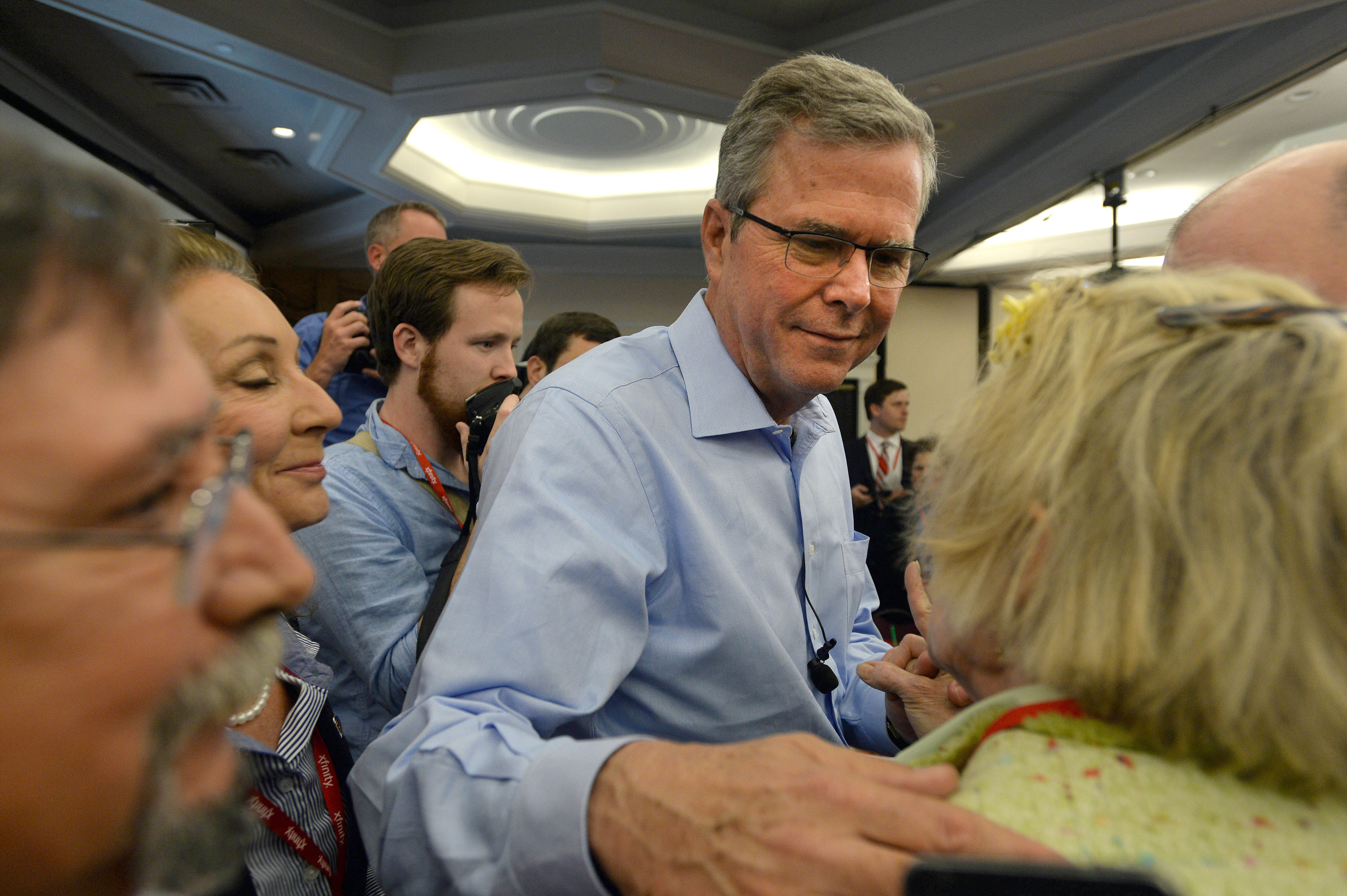 NASHUA, NH - APRIL 17: Former Florida Gov. Jeb Bush greets people after speaking at the First in the Nation Republican Leadership Summit April 17, 2015 in Nashua, New Hampshire. The Summit  brought together local and national Republicans and was attended by all the Republicans candidates as well as those eyeing a run for the nomination. (Photo by Darren McCollester/Getty Images)