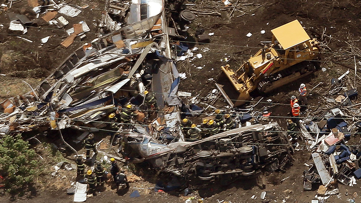 Investigators and first responders work near the wreckage of Amtrak Northeast Regional Train 188, from Washington to New York, that derailed May 13, 2015 in north Philadelphia, PA.