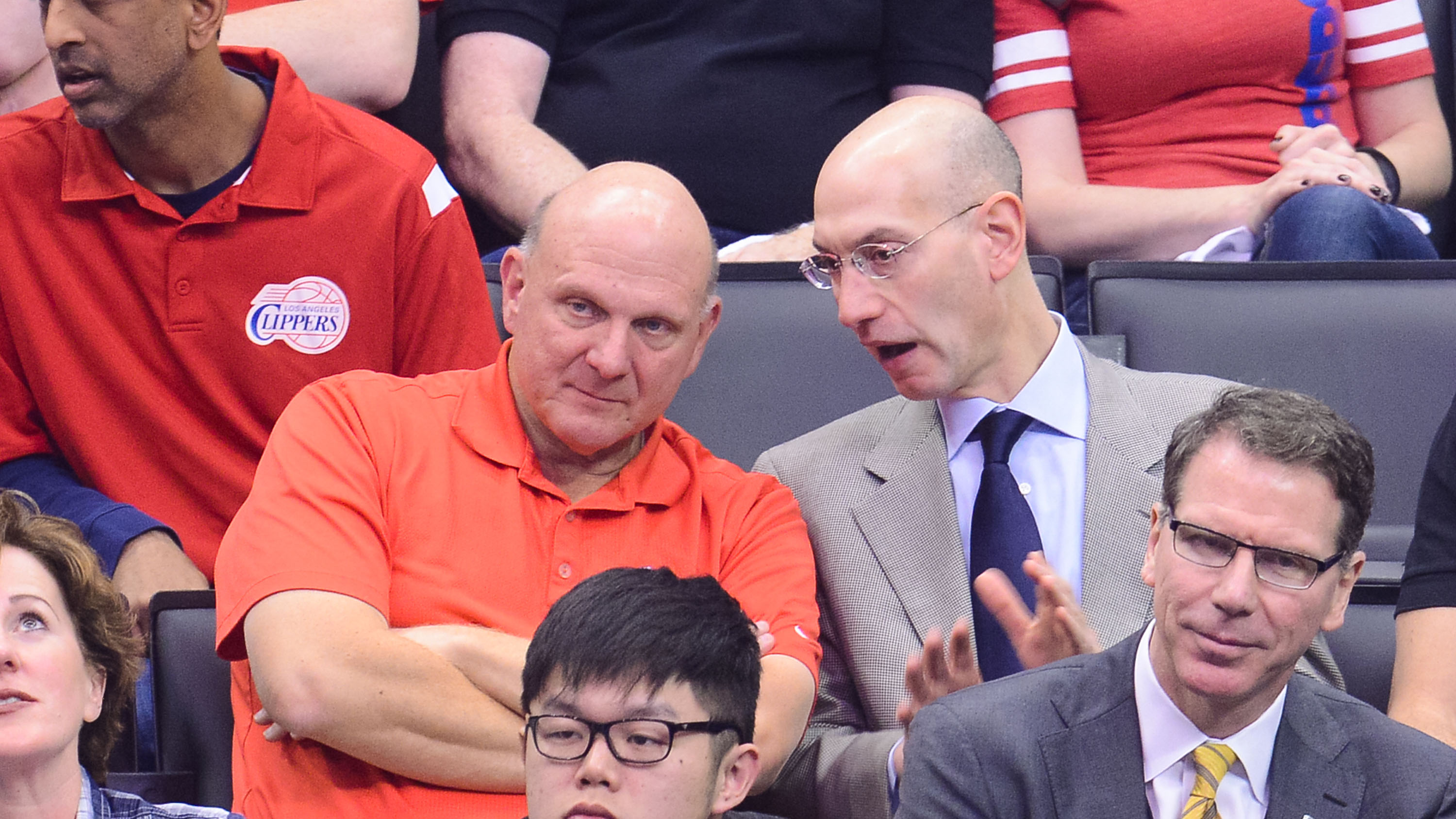 LOS ANGELES, CA - MAY 11:  Steve Ballmer (L) and NBA Commissioner Adam SIlver attends an NBA playoff game between the Oklahoma City Thunder and the Los Angeles Clippers at Staples Center on May 11, 2014 in Los Angeles, California.  (Photo by Noel Vasquez/GC Images)