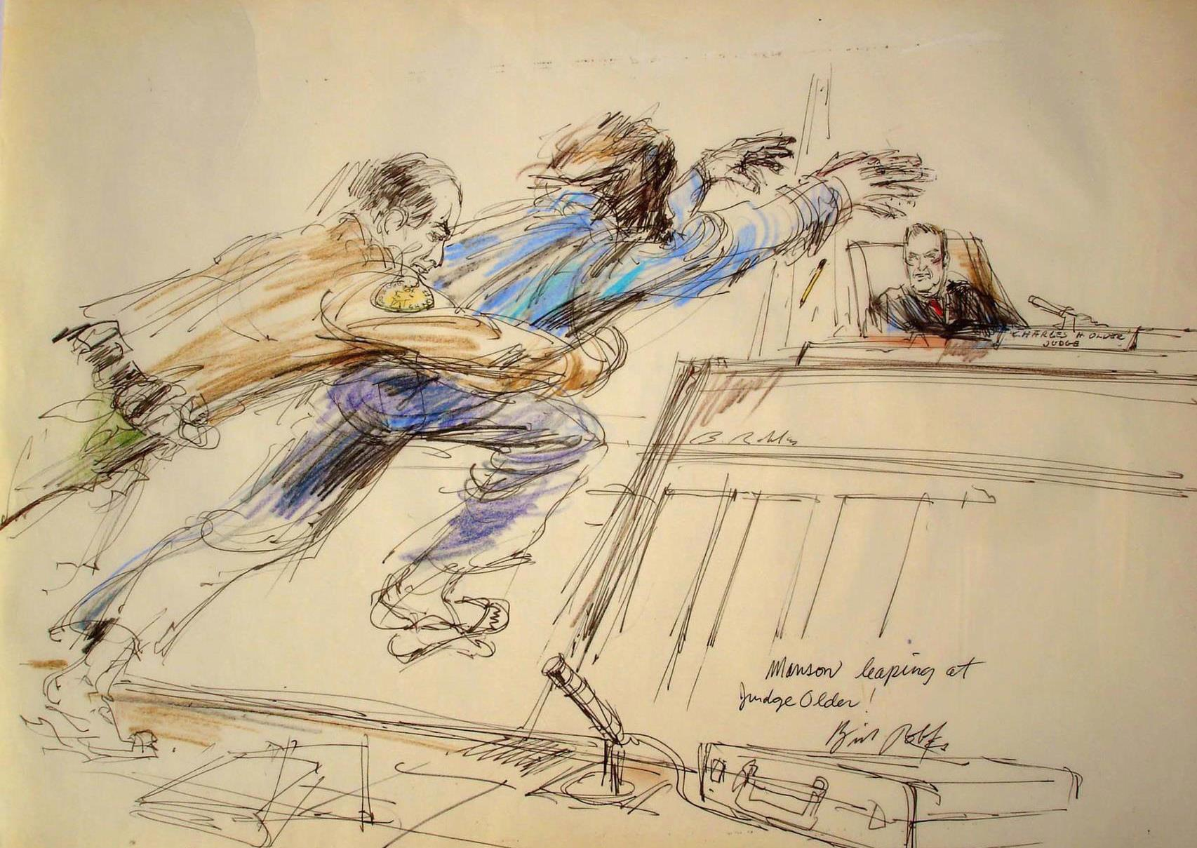 Charles Manson trial, 1970. The iconic photo of Manson leaping towards Judge Older, caught in midair by LA County Sheriff's Deputy
