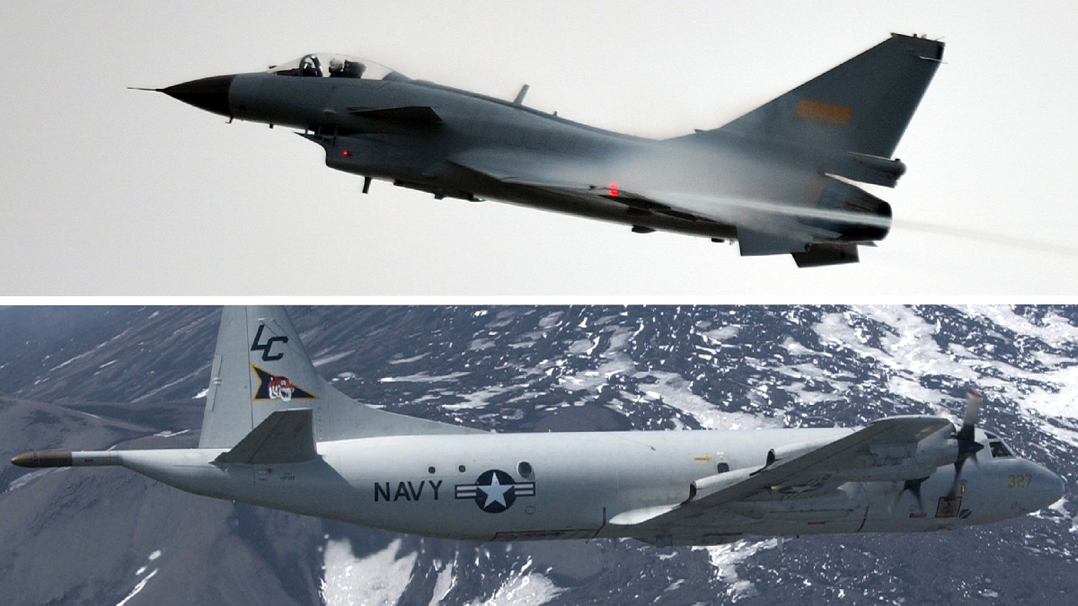 File photos of a Chinese J-10 fighter aircraft (top) and a U.S. Navy P-3 Orion aircraft.