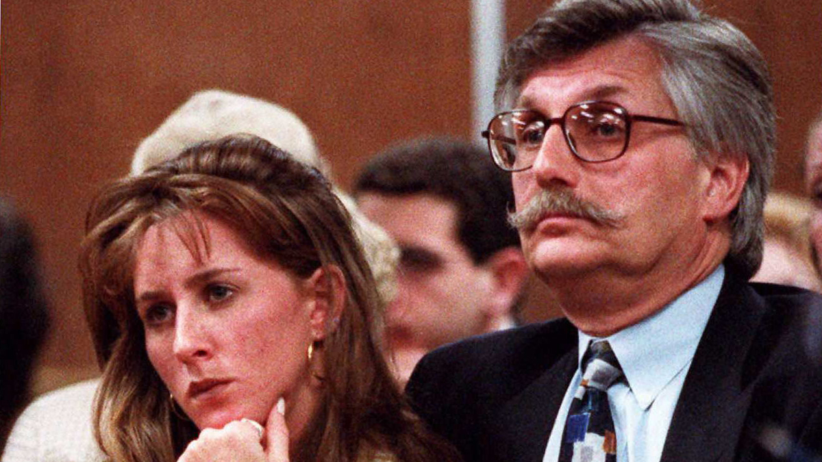 Kim Goldman (L) and Fred Goldman (R) sister and father of murder victim Ronald Goldman listen to Superior Court Judge Alan Haber in a Santa Monica, California, court 25 June during a court session in the wrongful death lawsuit against O.J. Simpson. Simpson was acquitted October 1995 of the 12 June 1994 murders of his ex-wife Nicole and Goldman, 25, a waiter friend.