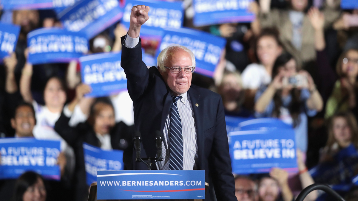 Democratic presidential candidate Senator Bernie Sanders (D-VT) greets supporters at a primary election-night rally on June 7, 2016, in Santa Monica, California.