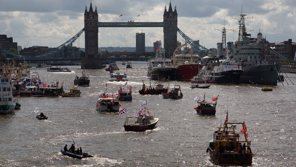 Flotilla of fishing vessels heading up the Thames to make the case for Brexit in the EU Referendum, to be held on June 23, on June 15 in London, United Kingdom.