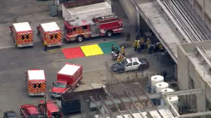 Paramedics respond to a medical emergency at the Men's Central Jail in downtown Los Angeles on Wednesday, June 3, 2015.