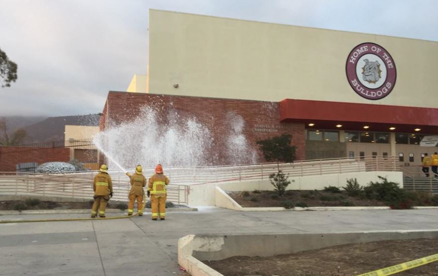 Firefighters used foam to destroy a bee hive after a swarm attacked during a graduation ceremony at Pasadena High School Wednesday, June 3, 2015