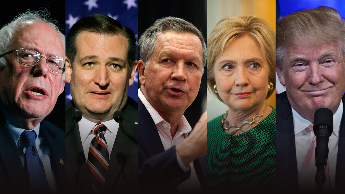 Vermont Sen. Bernie Sanders, Texas Sen. Ted Cruz, Ohio Gov. John Kasich, former Secretary of State Hillary Clinton and businessman Donald Trump (left to right) are running for president of the United States.