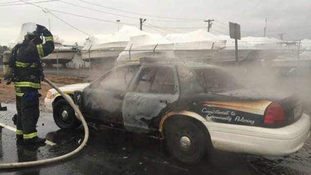 New Haven Police Cruiser Bursts Into Flames