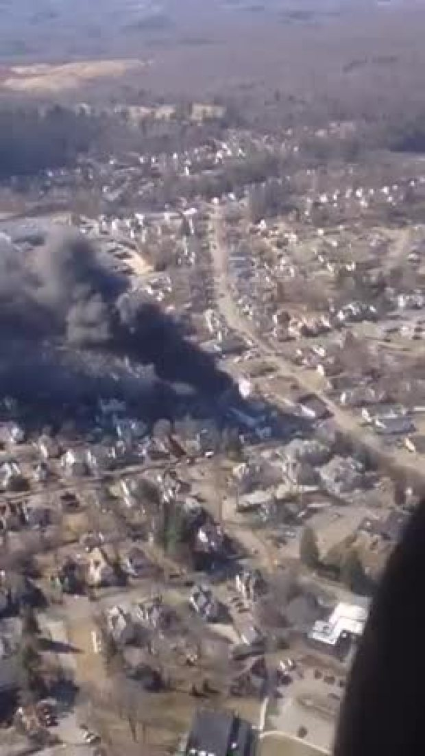 View of Torrington Fire from the Air