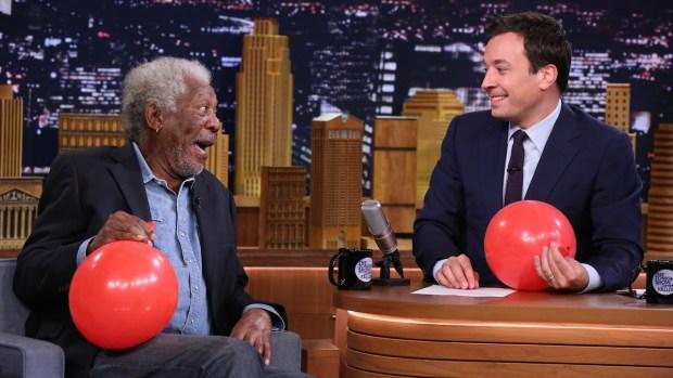 [NATL] Morgan Freeman Chats With Jimmy Fallon While Sucking Helium