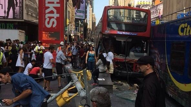 [NY] 14 Hurt in Times Square Bus Crash