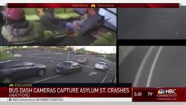 Crash Between Car and CT Transit Bus Caught on Camera | NBC