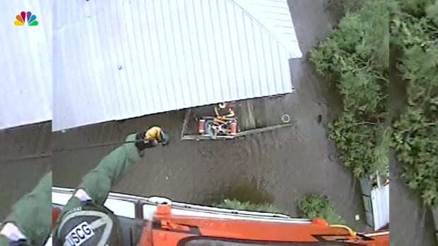 [NATL] US Coast Guard Helicopter Rescues People From Floodwaters