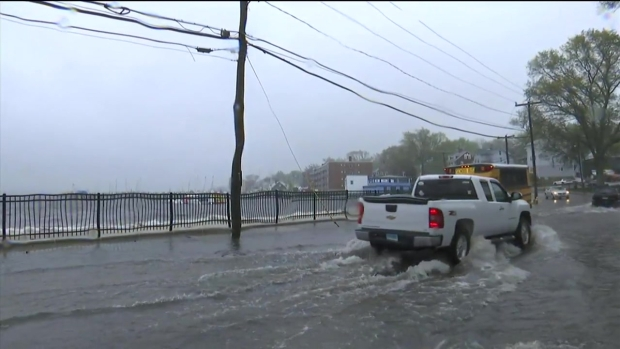 Flooding on Pequot Avenue in New London