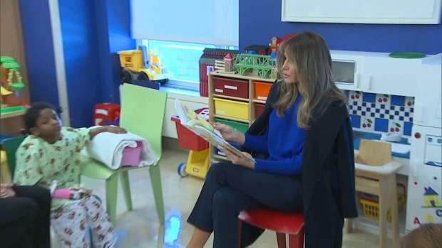 First Lady Reads to Kids at New York Hospital