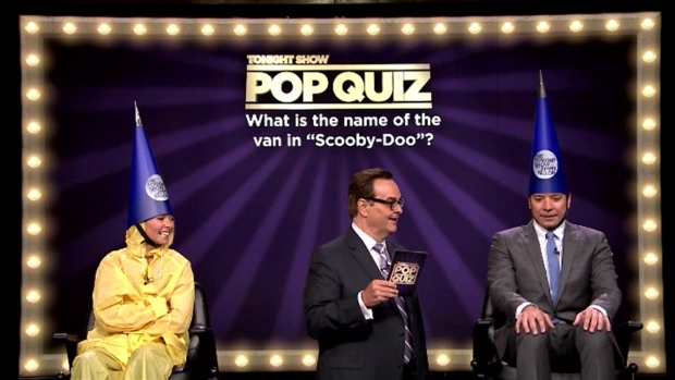 "Kelly Ripa, Jimmy Fallon Get Soaked Playing ""Pop Quiz"""