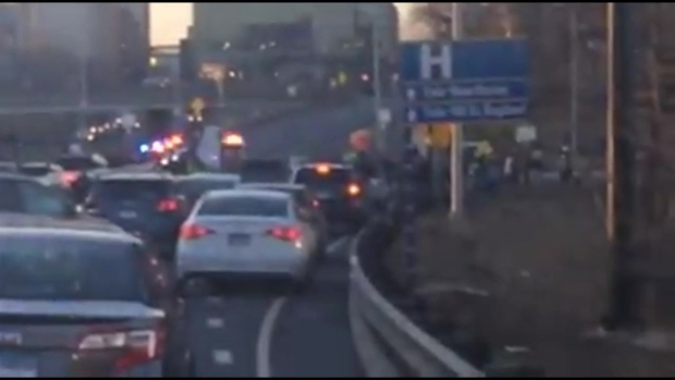 Protesters on Route 34 Connector