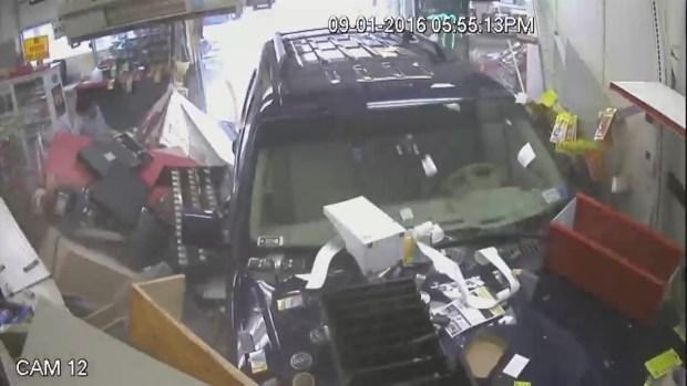 Video Shows Car Crashing Into Clinton Gas Station