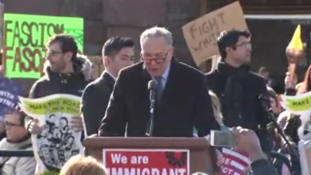 [NATL-NY] Sen. Charles Schumer Fires up Crowd at Battery Park Protest