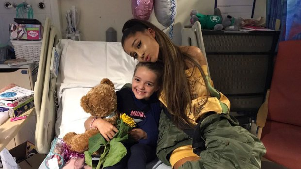 Pop Star Ariana Grande Visits Fans at Manchester Hospital