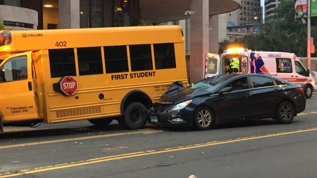 Car Hit Bicyclist, Crashed Into School Bus While Fleeing Scene in Hartford: Police