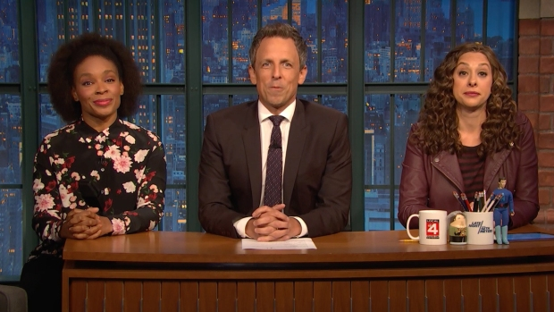 [NATL] 'Late Night': Jokes Seth Can't Tell About Holidays, Midterms
