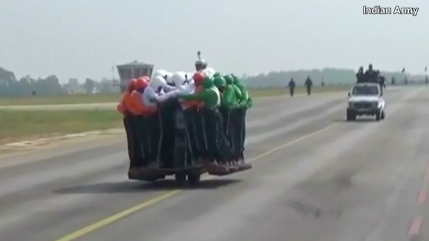 [NATL] Indian Army Puts 58 Men on a Single Motorcycle to Break Their Own World Record