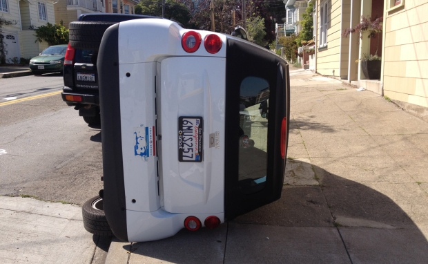 [BAY] Vandals Flip Smart Cars Over in San Francisco