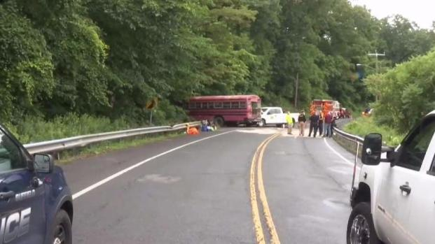 Several injured in crash involving bus and pickup