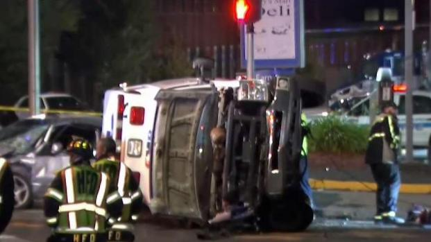Crash Leaves Ambulance Overturned in Hartford