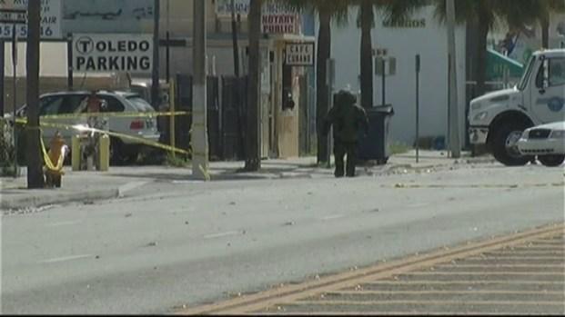 [MI] RAW VIDEO: Bomb Squad Destroys Suspicious Package on Flagler Street