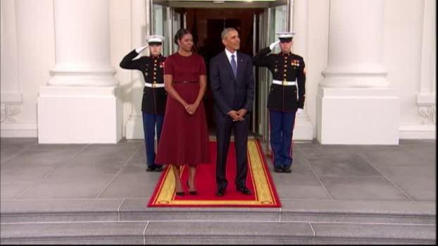 Obamas, Trumps Shake Hands at White House