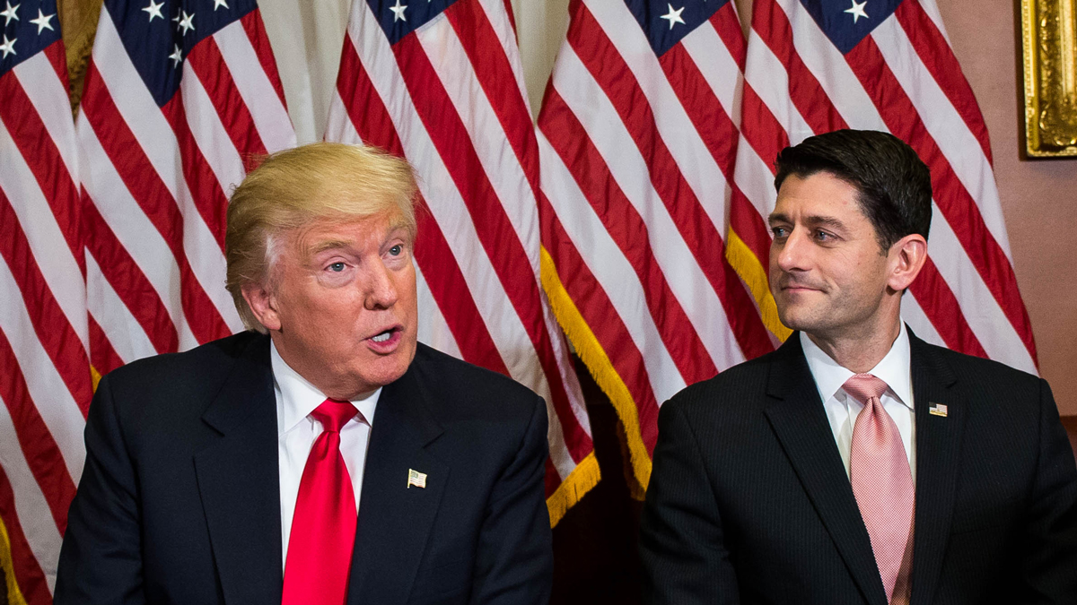 President-elect Donald Trump meets with House Speaker Paul Ryan (R-WI) at the Capitol on Thursday, Nov. 10, 2016, in Washington, D.C.