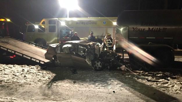 Car and Tanker Truck Collide in Farmington