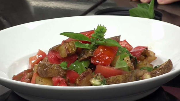 Native Heirloom Tomatoes with Roasted Potatoes and Basil