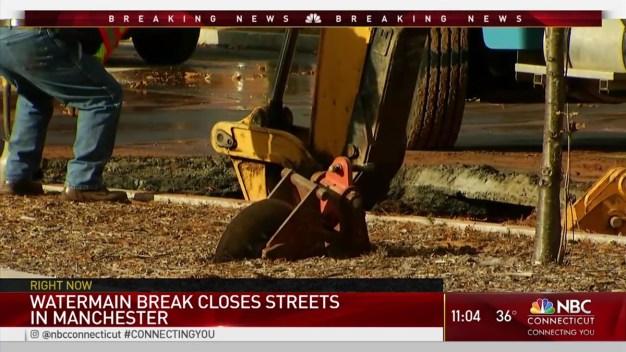 Crews Work on 2 Water Main Breaks in Manchester