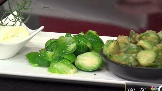Crisp Fried Brussels Sprouts with Lemon Tarragon Dipping Sauce